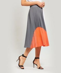 Clu Colour Block Pleated Skirt In Grey Gray Skirt, Pleated Skirt, Midi Skirt, Colour Block, Color Blocking, Clu, Court Shoes, My Style, Grey
