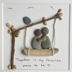 Couple Pebble Art. Together Is My by MadeByMellyPebbleArt on Etsy