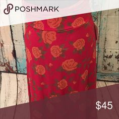 Maxi skirt /dress Red floral LuLaRoe Skirts Maxi