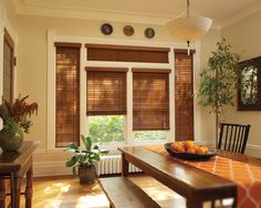 #HunterDouglas Chalet Woods® wood blinds - Dining Room