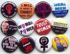 """FEMINIST Feminism Equal Rights 12 Pinback 1"""" Buttons Badges Pins. $12.00, via Etsy."""