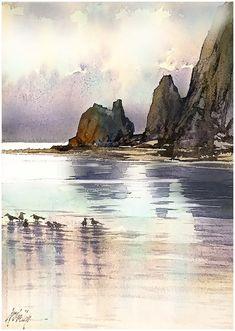 """Morning; Cannon Beach - Oregon"" Thomas W Schaller - Watercolor Sketch. 18x12 - 14 July 2015"