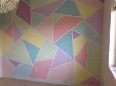 Just finished this feature wall in kids bedroom Feature Wall Bedroom, Girl Bedroom Walls, Girl Room, Kids Bedroom, Geometric Wall Paint, Geometric Decor, Room Wall Painting, Room Paint, Mosaic Diy