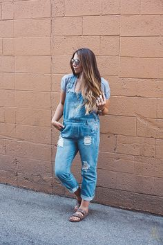 denim overalls and birkenstocks perfect casual summer outfit