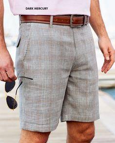 Linen Blend Check Shorts at Cotton Traders #cottontraders #cotton #British #fashion #style #summer #springsummer #trend #summerdays #menswear #mensfashion #grey #check #shorts #smart