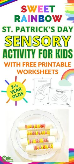 Celebrate St. Patrick's Day with kids by giving them fun home activities. Check out this fun and delicious sweet rainbow snacks kids can make. A sensory activity with coloring sheets. #stpatricksday #Irish #sensorialactivities #kidsfoodplay #kidsactivities #activityforkids #seasonalactivities #preschool #preschoolers #prek #homeactivitiesforkids #boredkids #freeprintables #kidsworksheets #preschoolworksheets #Montessori #playwithfood #finemotorskills #foodactivity #kidssnacks Sensory Activities For Preschoolers, Rainbow Activities, Fun Activities For Kids, Infant Activities, Preschool Activities, Baby Sensory Bottles, Sensory Table, Toddler Sensory Bins, Sensory Play