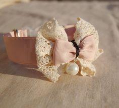 Soft pink collar for pet, Beautiful wedding dog collar, dog fashion,Ivory  lace collar for dog