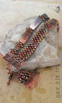 Beaded Bracelet Live Love Laugh Copper Seed Bead by WorkofHeart