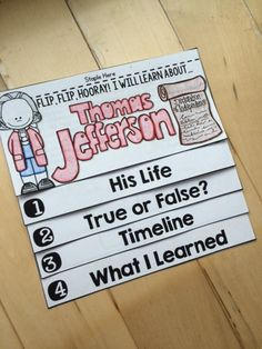 This NO FUSS, NO PREP Thomas Jefferson Flip Book is an interactive and engaging way to teach your students about Thomas Jefferson.