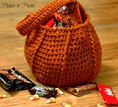 Petals to Picots: Halloween Pumpkin Trick or Treat Bag Crochet Pattern