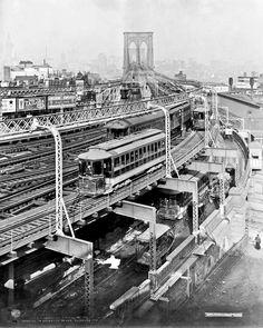 Approach to Brooklyn Bridge, New York, 1909.