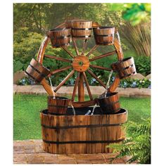 Wagon Wheel Outdoor Water Fountain Product Description: Add some country charm with this casual all wood wagon wheel outdoor water fountain! An old fashioned wagon wheel becomes a quaint backdrop for