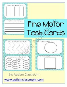 Fine Motor Task Cards (Special Education, Autism, Kindergarten) from Autism Classroom on TeachersNotebook.com -  (16 pages)  - These task cards are for working on fine motor skills. Each page holds two cards that can be laminated and cut in half to make two task cards.