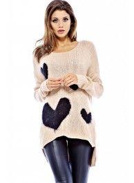 Knitted Multi Heart Cream Sweater