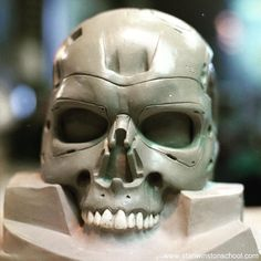 Shane Mahan's #clay #sculpture is ready for #molding. #terminator #t800 #endoskeleton #endoskull #stanwinstonstudio #makeupeffects #practicaleffects #animatronics #puppets #puppetmaking #bts #behindthescenes #hollywood #moviemagic #inspiringstuff #picoftheday