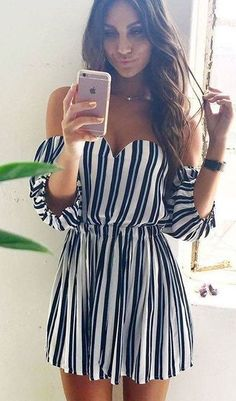 40 Summer And Popular Outfits Of Beginning Boutique Australian Label - Stripe Off The Shoulder Little Dress Cozy Winter Outfits, Cute Summer Outfits, Stylish Outfits, Spring Outfits, Cute Outfits, Summer Dresses, Striped Outfits, Dress Outfits, Casual Dresses