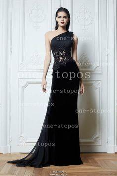 Wholesale Evening Dresses - Buy 2014 Hot Zuhair Murad Evening Dresses One Shoulder Sleeveless Appliques Lace Illusion Chiffon Sheath Floor L...