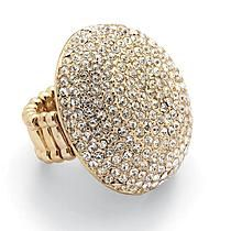 PalmBeach Jewelry Crystal Dome Stretch Ring in Yellow Gold Tone