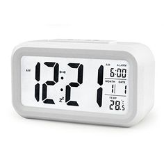 Kids' Room Clocks - IYOOVI Morning Digital Clock and Alarm Large Display Travel Alarm Clock Low Light Sensor Technology with Temperature White -- Check out this great product.