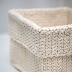 Square Crochet Basket - Natural