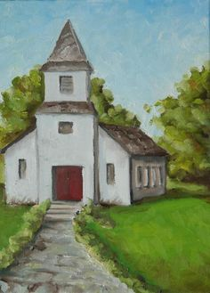 Old white church in the Texas Hill Country  -  painting by Amy Higgins