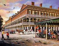 Brad Thompson-New Orleans Louisiana Artwork and Prints-Shop Online New Orleans Art, New Orleans Louisiana, New Orleans Vacation, New Orleans French Quarter, Jackson Square, United States Travel, Old Town, New Art, Street View