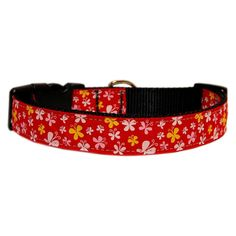 Mirage Pet Products Butterfly Nylon Ribbon Collar, Medium, Red ** Want to know more, click on the image.