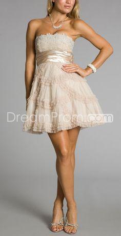 Elegant Organza Champagne A-line Sweetheart Sleeveless Homecoming Dresses