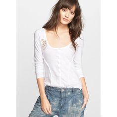 Free People Keepsake Crochet Henley brand new, never been worn comfy and sexy top! Great for lounging around or running errands! Free People Tops Tees - Long Sleeve