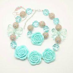Aqua Bow Bubblegum Necklace and Bracelet – Think Pink Bows