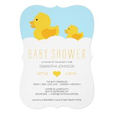 Duck baby shower invitation. Oh, Baby! Gather friends and family to celebrate the new baby on the way as you shower the parents-to-be with lots of love. Our Rubber Duckies Yellow Neutral Baby Shower invitation will help set the tone for an adorable baby shower for boys and girls. This design features a mama yellow rubber ducky and her baby duckling floating atop bath bubbles. Such a sweet design is perfect for a rubber ducky or duck themed shower.