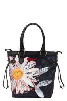 Desigual Women's American bag. This season we have used daisies everywhere because they are utterly charming and we know you love them. Measurements: 37x34x17 cm. / 14.57