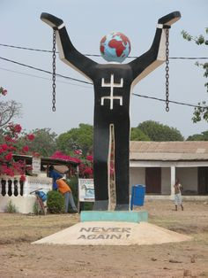 Statue at the entrance to the town of Juffureh, Gambia