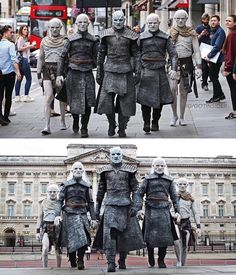 White Walkers in London, Game of Thrones. White Walkers in London, Game of Thrones. Game Of Thrones Pictures, Game Of Thrones Meme, Game Of Thrones Cosplay, Winter Is Here, Winter Is Coming, White Walker Costume, Game Of Trone, King In The North, Game Costumes
