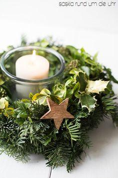 Weihnachtskranz mit Kerze