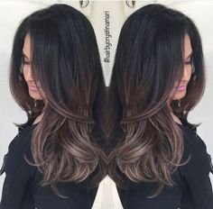 Dark Brown Hair with Ash Brown Balayage Ombre