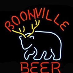 Boonville Deer Logo Pub Store Beer Bar Real Neon Sign Christmas Gift///How I love you neon signs , Real nice for my Home Bar Deco
