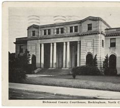 Richmond County Courthouse, Rockingham, North Carolina.  Used courtesy of NC Postcards, North Carolina Collection, Wilson Library, UNC Chapel Hill.