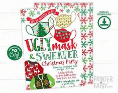 Party Boutique The Cutest Party Printables by PrinterFairy Ugly Sweater Party, Ugly Christmas Sweater, Christmas Clothes, Christmas Party Invitations, Birthday Invitations, Hipster Gifts, Diaper Raffle Tickets, Digital Invitations, Invitation Ideas