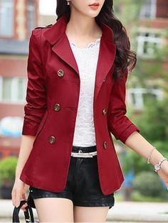 HyBrid Womens Casual Work Office Open Front Cardigan Blazer Jacket Made in USA Indian Fashion Dresses, Girls Fashion Clothes, Fashion Outfits, Clothes For Women, Fashion Boots, Blazer Outfits, Blazer Fashion, Red Blazer, Blazer Jacket