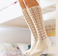 Crochet PATTERN for socks (pdf file) - Ladies Lace Socks from monpetitviolon on Etsy. Saved to My Closet. Crochet Boots, Crochet Slippers, Crochet Clothes, Crochet Lace, Crochet Style, Crochet Stitch, Crochet Granny, Double Crochet, Single Crochet