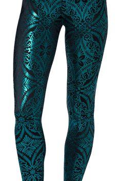 Geometric Floral Teal Leggings (Museum) | Black Milk Clothing $80AUD