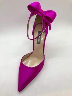 Pink satin ankle strap pump with a crystal-encrusted embellishment and back bow embellishment. Ugly Shoes, Fancy Shoes, Satin Pumps, Peep Toe Pumps, Best Shoe Rack, Shoe Racks, Shoe Storage, Dress Up Shoes, Shoe Boots