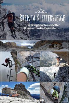 Den steilen Dolomiten so nah bei einer Klettersteigtour durch die Brenta in Südtirol. Unterwegs kommt ihr auf den Klassikern unter den Klettersteigen der atemberaubenden Bergwelt der Dolomiten näher und nächtigt auf malerisch gelegenen, urigen Hütten. Alles zur Tour auf unserem Blog! #Klettersteig #klettersteigtour #klettersteige #dolomiten #brenta #italien #viaferrata