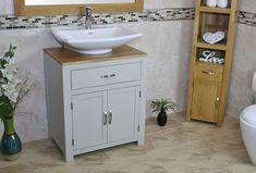 Complete Bathrooms, Big Bathrooms, Bathroom Vanity Units, Bathroom Ideas, Laundry Bin, Mixer Taps, Grey Paint, Painted Wood, Ceramic Bowls