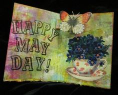 A little May Day card---atc size, 2 1/2 by 3 1/2 inches  Gelli plate print backgrounds