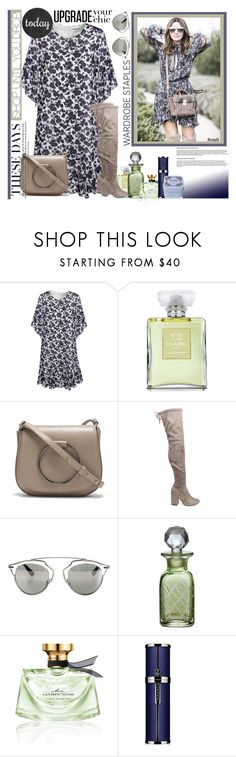"""""""UPGRADE YOUR CHIC: Smoky Blue & Taupe"""" by polyvore-suzyq ❤ liked on Polyvore featuring Essentiel, Chanel, Thacker, Steve Madden, Christian Dior, Bulgari and Henri Bendel"""