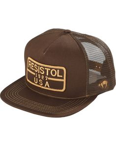 c86aaf9d61a Resistol Men s Brown Five Panel Mesh Baseball Cap