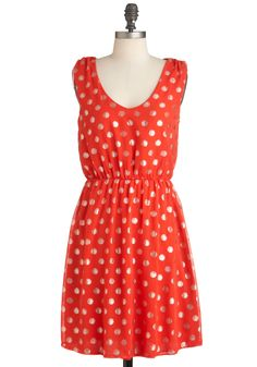 Dew It Like This Dress - Mid-length, Red, Gold, Polka Dots, Backless, Party, Sheath / Shift, Sleeveless