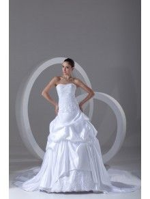 Satin Scoop Chapel Train Ball Gown Embroidered Wedding Dress